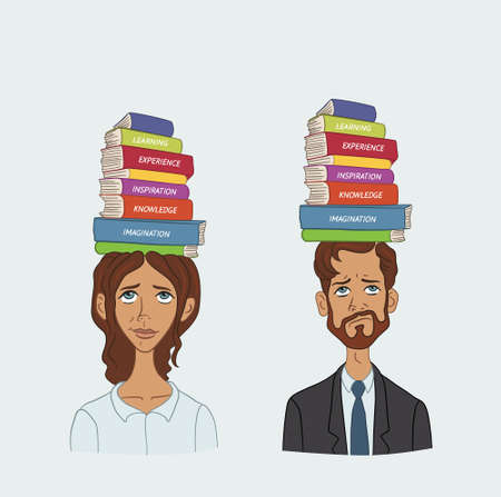 filling folder: People with stack of books on his head