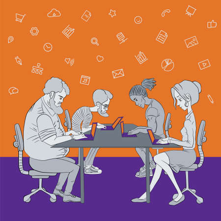 participation in the hackathon - coworking space - sharing of working files and reference materials Vektorové ilustrace