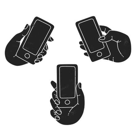 timing the market: A set of line drawings of hands with smartphones - Internet technologies in the smartphone - Online services in the smartphone - entertainment and business via cloud technologies