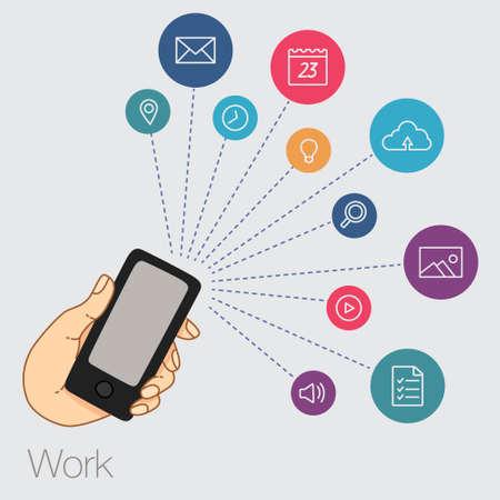 テクノロジー: スマート フォン - スマート フォンでインターネット技術 - オンライン サービス - スマート フォンの歓楽街、クラウド技術によるビジネスで手の線画のセット  イラスト・ベクター素材