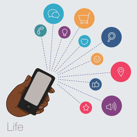 smartphone in hand: A set of line drawings of hands with smartphones - Internet technologies and services in the smartphone Illustration