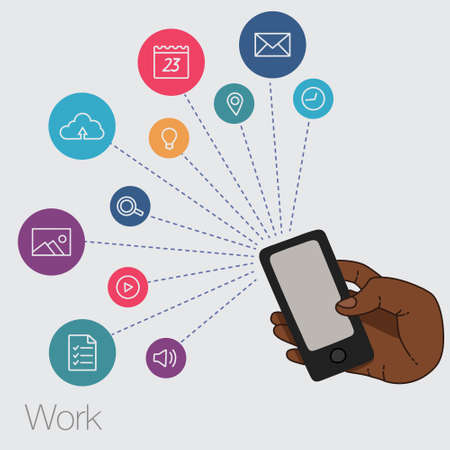 A set of line drawings of hands with smartphones - Internet technologies and services in the smartphone - entertainment and business via cloud technologies Illustration