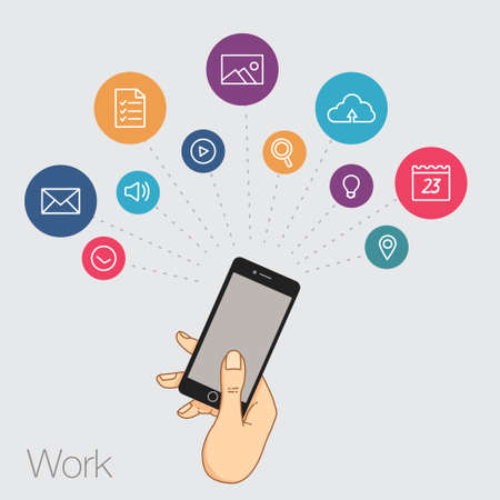 timing the market: A set of line drawings of hands with smartphones - Internet technologies and services in the smartphone - entertainment and business via cloud technologies Illustration