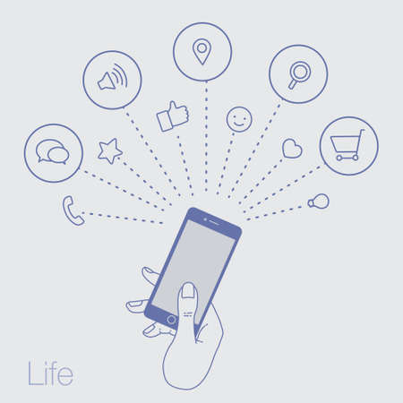 line drawings: A set of line drawings of hands with smartphones - Internet technologies and services in the smartphone Illustration