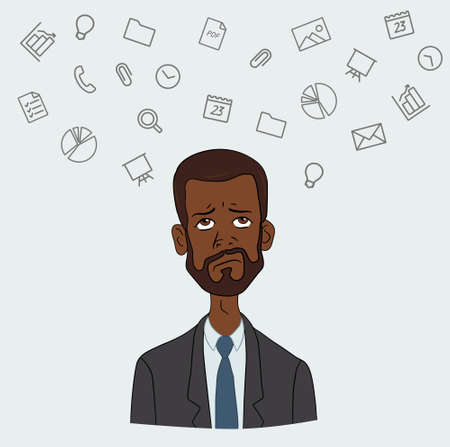 disgruntled: A disgruntled employee  - routine boring work in the office Illustration
