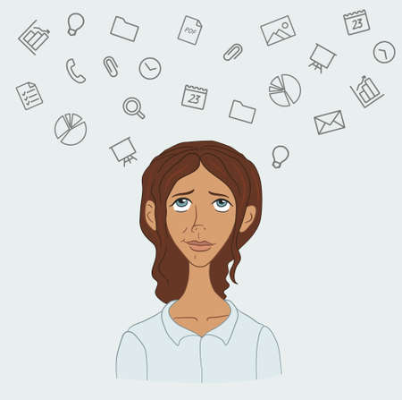 boring: A disgruntled employee  - routine boring work in the office Illustration