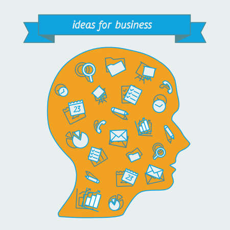 big head: A human head in profile with icons of tools and services. Icons of digital tools in a simple style. Linear icon on the topic of business