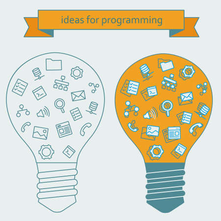 computer programmer: Tools and services for work - Light bulb with icons in flat style on an office theme