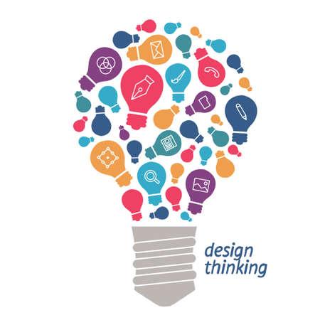 Gloeilamp met iconen van instrumenten en diensten. Iconen van digitale hulpmiddelen in een eenvoudige stijl. Lineaire pictogram op het onderwerp van het ontwerp