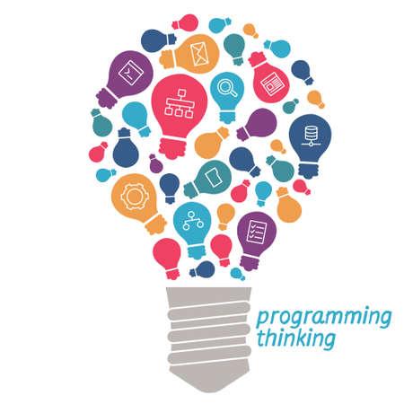 bombillo: Bombilla con iconos de herramientas y servicios. Los iconos de las herramientas digitales en un estilo sencillo. icono lineal sobre el tema de la programación
