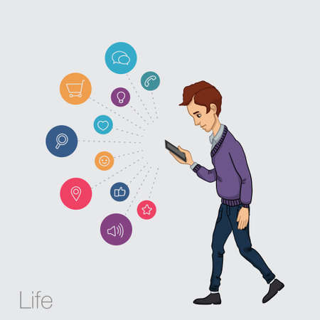 ramble: walking guy with a mobile phone - app and store Illustration