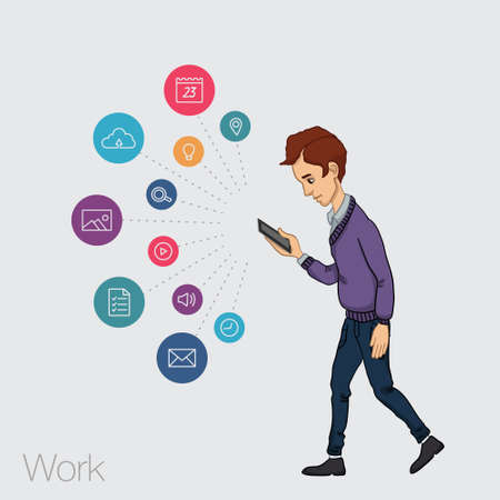 timing the market: walking guy with a mobile phone - app and store Illustration