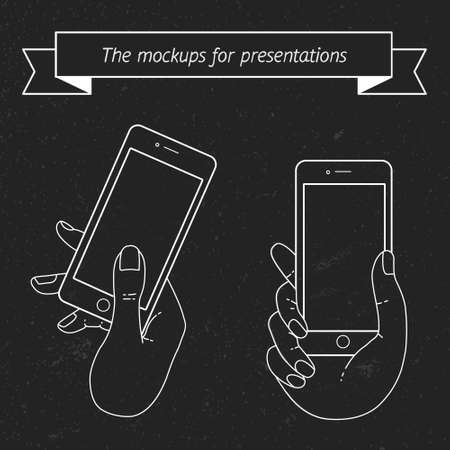 estate planning: A set of line drawings of hands with smartphones - Internet technologies and services in the smartphone - entertainment and business via cloud technologies Illustration