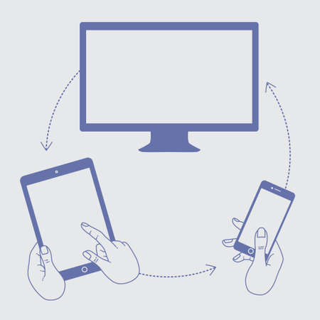 internet network: A set of line drawings of hands with smartphones - Internet technologies and services in the smartphone - entertainment and business via cloud technologies Illustration