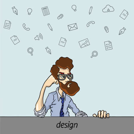 disgruntled: A disgruntled employee at the table  - routine boring work in the office Illustration