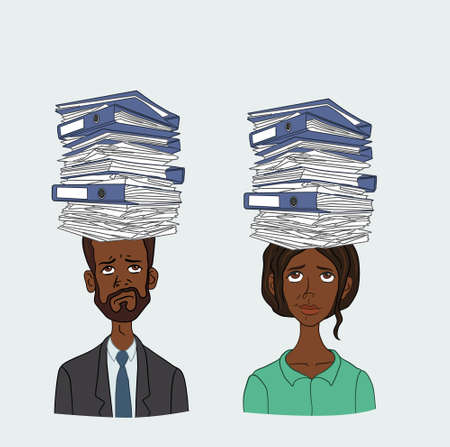 filling folder: People with stack of papers on his head