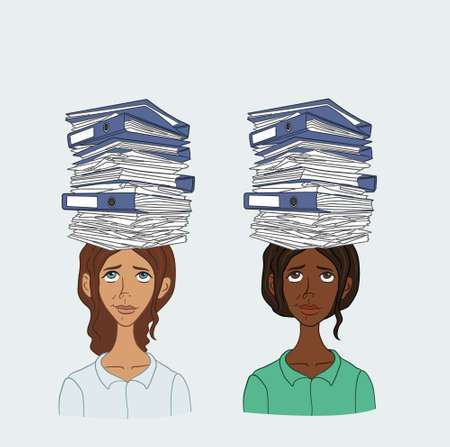 disgruntled: People with stack of papers on his head