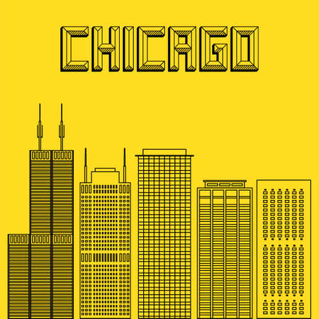 famous cities: Buildings famous cities in the form of lines. Poster or banner for an event in the city - Chicago. Big city in the USA - Chicago. Illustration
