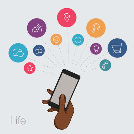 multi touch: A set of line drawings of hands with smartphones - Internet technologies in the smartphone - Online services in the smartphone - entertainment and business via cloud technologies