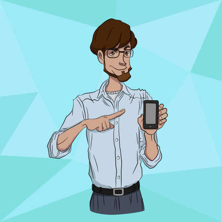 presentation screen: Presentation of a mobile application, startup or  website on a smartphone screen. Businessman standing and shows the screen of a mobile phone Illustration