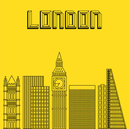 city of london: Buildings famous cities in the form of lines. Poster or banner for an event in the city - London. Big city in the Europe - London.