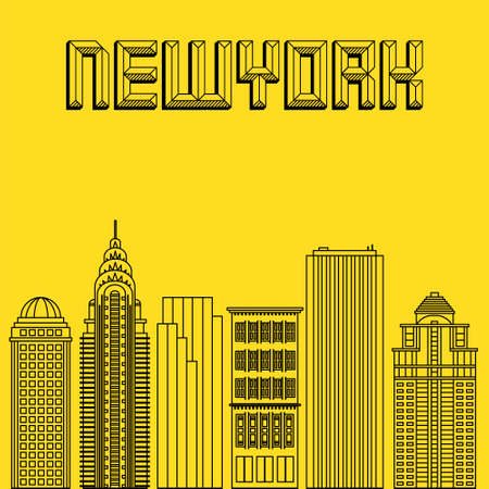 famous cities: Buildings famous cities in the form of lines. Poster or banner for an event in the city - New York. Big city in the USA -  New York. Illustration