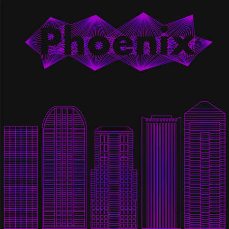 ave fenix: Edificios ciudades famosas en forma de líneas. Cartel o banner para un evento en la ciudad - Phoenix. ciudad grande en los EE.UU. - Phoenix.