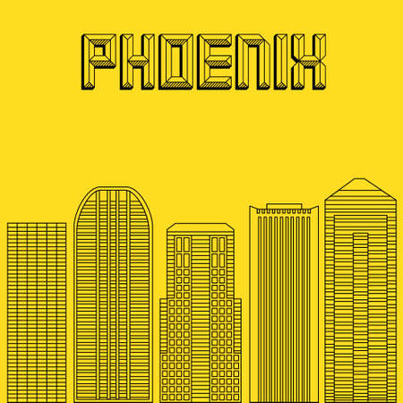 famous cities: Buildings famous cities in the form of lines. Poster or banner for an event in the city - Phoenix. Big city in the USA - Phoenix.