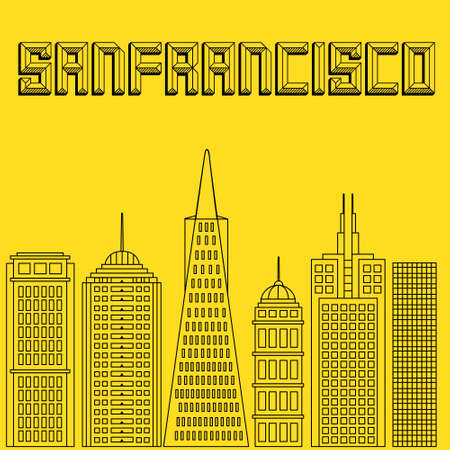 san francisco: Buildings famous cities in the form of lines. Poster or banner for an event in the city - San Francisco. Big city in the USA - San Francisco. Illustration