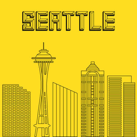 famous cities: Buildings famous cities in the form of lines. Poster or banner for an event in the city - Seattle. Big city in the USA - Seattle.
