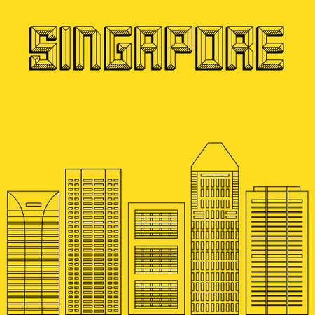 famous cities: Buildings famous cities in the form of lines. Poster or banner for an event in the city - Singapore. Big city in the world - Singapore.