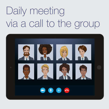 Conference call the working group of business analysts and managers. Communication remote team  of developers on the project Illustration