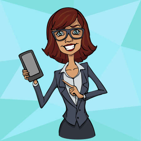 businesswoman standing: Presentation of a mobile application, startup or a website on a smartphone screen. Businesswoman standing and shows the screen of a mobile phone