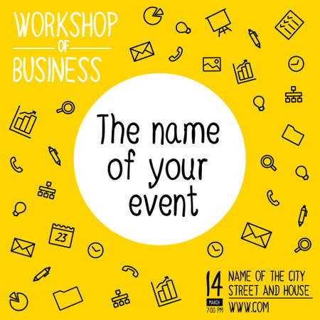workshop: Banner for workshop on business. Colorful square banner in a flat line style. Banner with icons for social networks