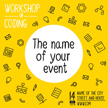 Banner for workshop on coding. Colorful square banner in a flat line style. Banner with icons for social networks