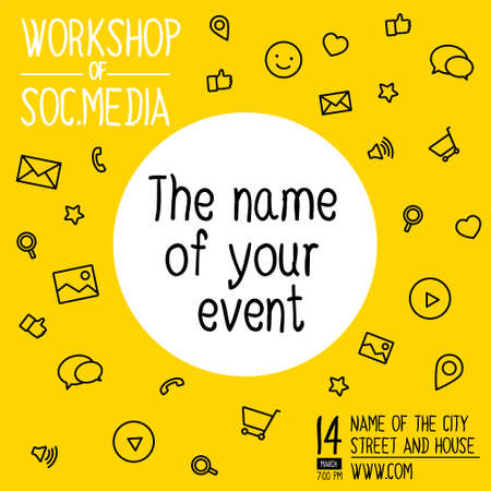 Banner for workshop on design. Colorful square banner in a flat line style. Banner with icons for social networks Vektorové ilustrace