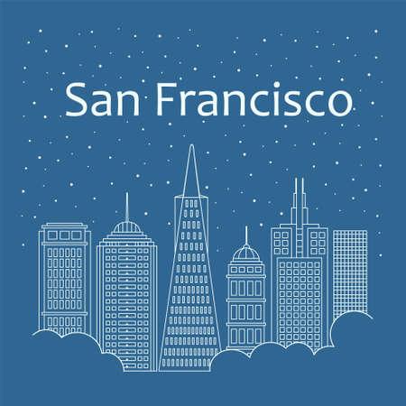 メトロポリス - 線形スタイルで雪が降っています。夜の生活とサンフランシスコの星空。サンフランシスコの建物都市 - 線のスタイル