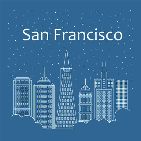 metropolis: Metropolis in a linear style - the snow is falling. Night life and starry sky in San Francisco. Building city of San Francisco - line style Illustration