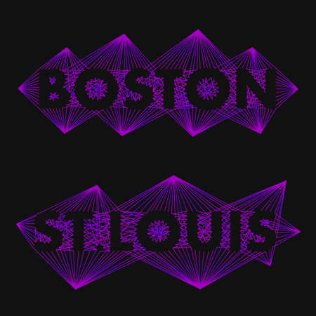 name: The name of the cities in the world for banners, posters, websites and illustrations. The name of the city - Boston, St.Louis - in a flat style