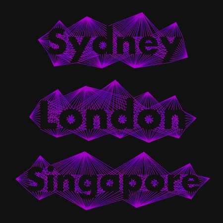 originality: The name of the cities in the world for banners, posters, websites and illustrations. The name of the city - Sydney, London, Singapore - in a flat style