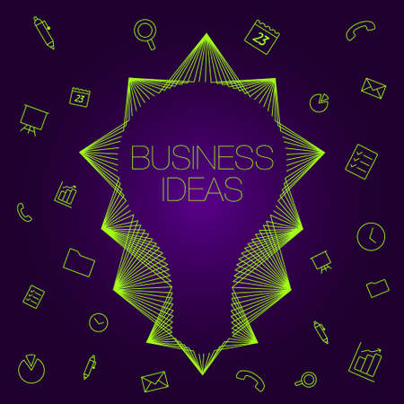 programs: Light bulb as a symbol of ideas. Set of icons on a theme business.  icons and light bulb for business.  Favorite programs and tools business analitics. Illustration