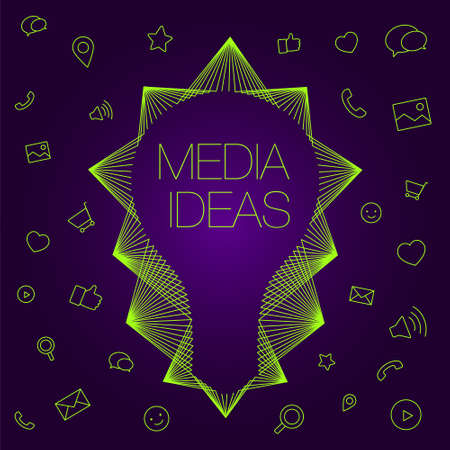 programs: Light bulb as a symbol of ideas. Set of icons on a theme social media.  icons and light bulb for social media. Favorite programs and tools managers.