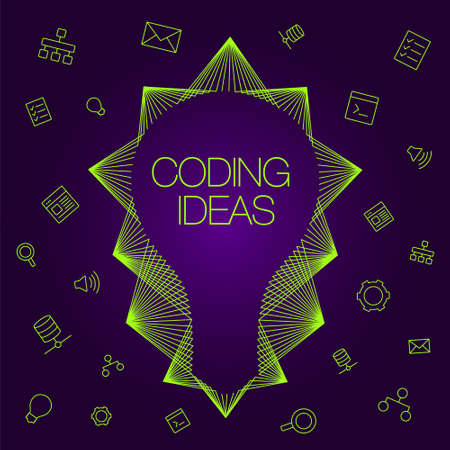 programmers: Light bulb as a symbol of ideas. Set of icons on a theme coding.  icons and light bulb for coding. Favorite programs and tools programmers.