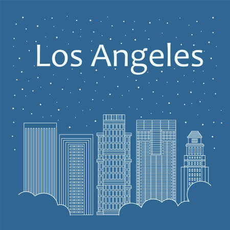 night life: Metropolis in a linear style - the snow is falling. Night life and starry sky in Los Angeles. Building city of Los Angeles - line style