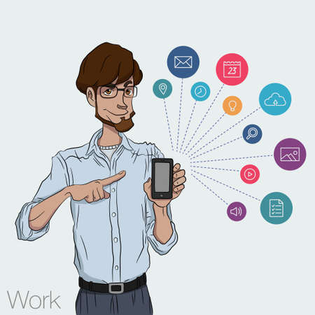 guy: Presentation of a mobile application, startup or  website on a smartphone screen. Businessman standing and shows the screen of a mobile phone Illustration