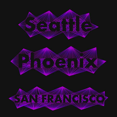 my name is: The name of the cities in the world for banners, posters, websites and illustrations. The name of the city in - Seattle, Phoenix, San Francisco -  a flat style Illustration