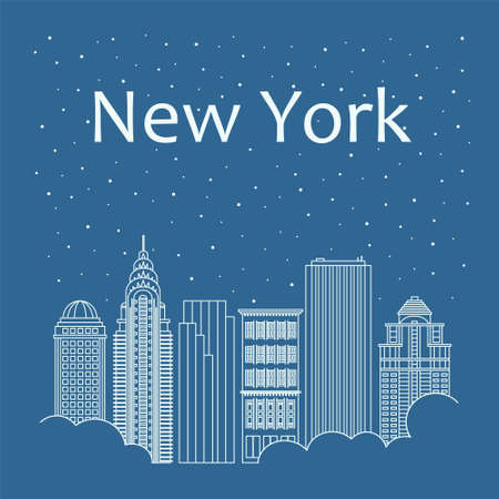 metropolis: Metropolis in a linear style - the snow is falling. Night life and starry sky in New York. Building city of New York - line style Illustration