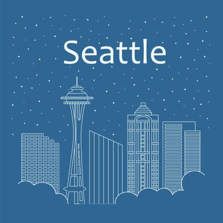 metropolis: Metropolis in a linear style - the snow is falling. Night life and starry sky in Seattle. Building city of Seattle - line style