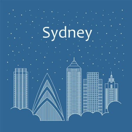 metropolis: Metropolis in a linear style - the snow is falling. Night life and starry sky in Sydney. Building city of Sydney - line style
