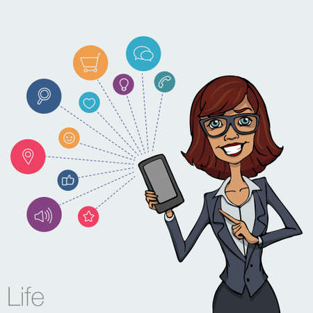 businesswoman standing: Presentation of a mobile application, startup or a website on a smartphone screen. Businesswoman standing and shows the screen of your mobile phone